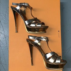 YSL Gold Tribute Platform Sandals